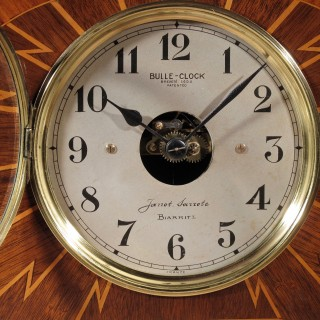 Art Deco Electrical Bulle Clock Mantel Clock Inlaid with Rosewood Mahogany and Satin Wood