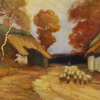 French Bucolic Landscape Painting Oil On Canvas Signed And Dated From 20th Century
