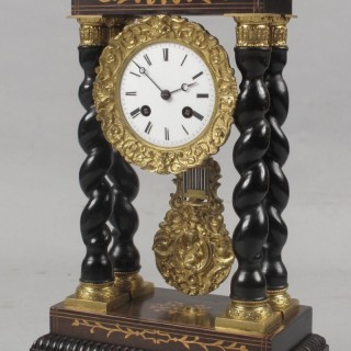 An Original Inlayed French Portico Clock circa:1870