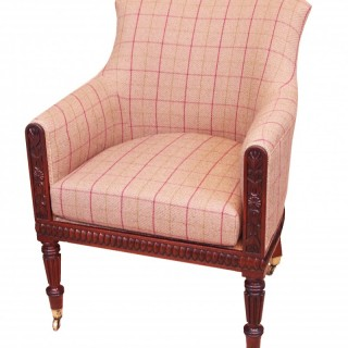 English Regency Mahogany Library Tub Armchair