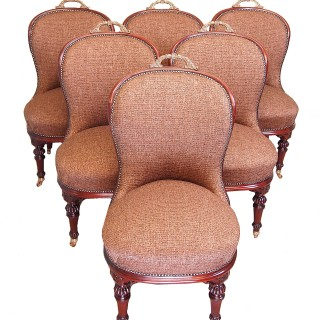Antique 19th Century Set Of Six Walnut Salon Dining Chairs
