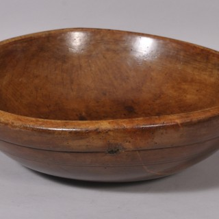 Antique Treen 18th Century Fruitwood Mixing Bowl