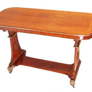 Antique Regency Rosewood & Brass Library Table