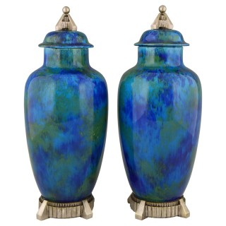 Art Deco pair of ceramic vases urns with blue glaze