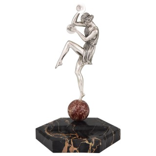 Art Deco silvered bronze cymbal dancer on marble tray