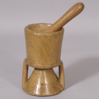 Antique Treen 19th Century Scandinavian Birch Pestle and Mortar