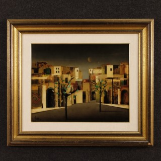 Italian Signed And Dated Painting Depicting City District From 20th Century
