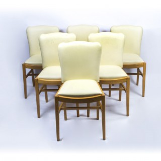 Antique Set 6 Art Deco Birdseye Maple Dining Chairs C1930