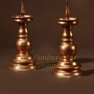 A real pair of original Nurnberg bronze candlesticks