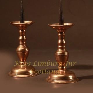 A real pair of original Nurnberg bronze candlesticks 17th century