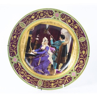 Antique Vienna Porcelain Cabinet Plate Bidenschild mark C1880