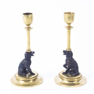 Antique Pair french Novelty Bronze Spaniel Candlesticks 19th C