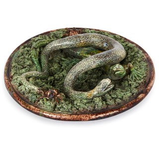 19th Century Portuguese Palissy ware plate of a lizard and snake