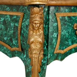 French ormolu mounted malachite bureau plat