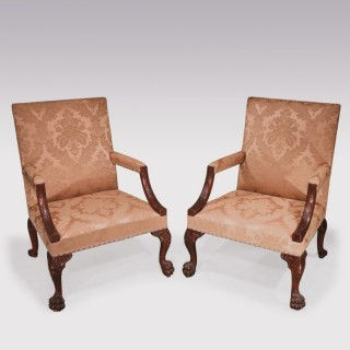 18th Century pair of Chippendale Gainsborough Library Armchairs