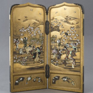 FINE QUALITY JAPANESE GOLD LACQUER & SHIBAYAMA TWO FOLD SCREEN - MASAAKI
