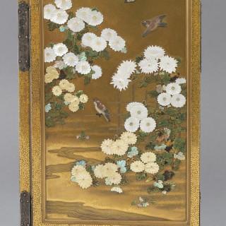 FINE QUALITY JAPANESE GOLD LACQUER & SHIBAYAMA TWO FOLD SCREEN - MASAAKI