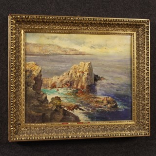Italian Painting Seascape With Cliff Oil On Canvas From 20th Century