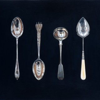 Small Spoons on Black by Rachel Ross