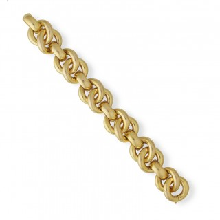 18ct yellow gold wide circular link bracelet