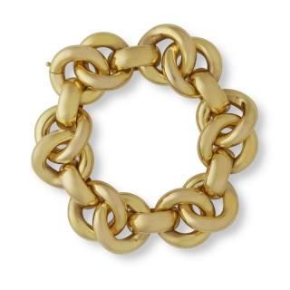 18ct yellow gold wide circular link bracelet