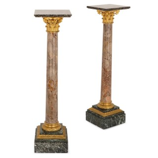 Pair of Neoclassical style gilt bronze and marble pedestals
