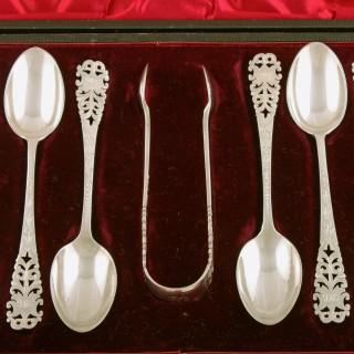 Set of 12 Sterling Silver Tea Spoons & Tongs