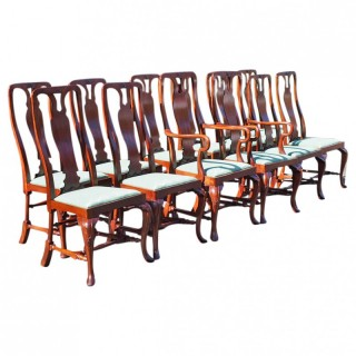 Set of 12 George II Style Mahogany Dining Chairs