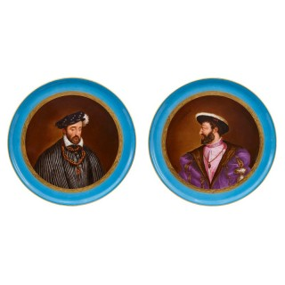 Two Sevres style porcelain plates after Titian and Clouet