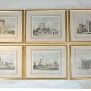 Set Of Six Large Lithographs of Windsor Castle