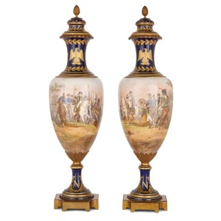 Pair of large Sevres style porcelain vases depicting Napoleon
