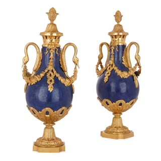 Pair of Neoclassical style lapis lazuli and gilt bronze vases