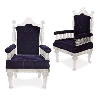 Pair of Osler style cut glass throne chairs