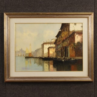 Italian Venice View Signed Painting Oil On Canvas From 20th Century