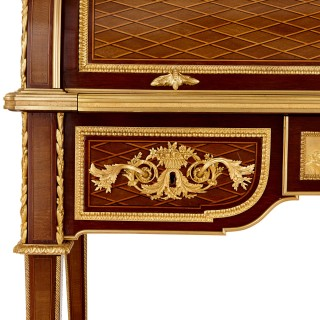 Gilt bronze mounted marquetry and parquetry roll top desk by Linke