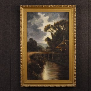 Italian Nocturnal Landscape Painting Oil On Canvas From 20th Century