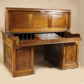 Mahogany And Burr Walnut Writing / Partners Desk