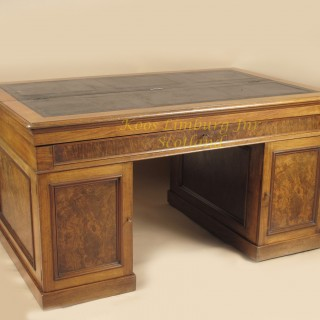 Mahogany And Burr Walnut Writing / Partners Desk