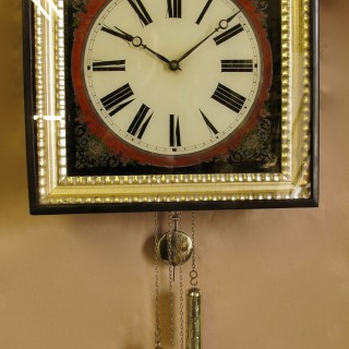 Black forest Reverse Painted Glass ( Verre Eglomise) Dial Wall Clock