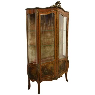 French Serpentine Front Vernis Martin Cabinet