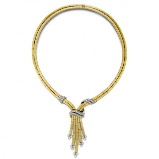 1950's 18ct yellow gold and diamond necklace