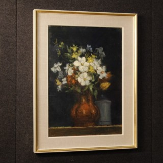 Italian Signed Still Life Painting Oil On Canvas From 20th Century