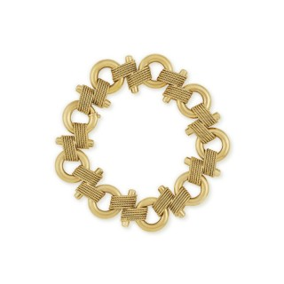 18ct yellow gold circle, bar and rope twist link bracelet