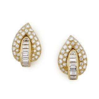 Brilliant and baguette cut diamond earclips made by Fred, Paris