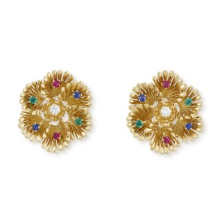 Boucheron ruby, emerald, sapphire and diamond earclips