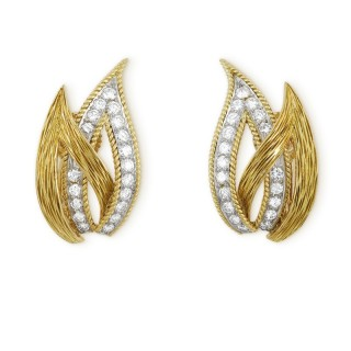 French 18ct yellow gold and diamond open leaf earclips