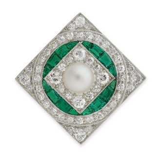 1920's Diamond, emerald and pearl brooch
