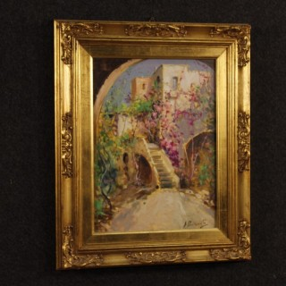 Italian signed painting depicting flowered village