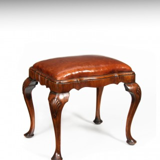 Antique Shaped Walnut and Leather Stool