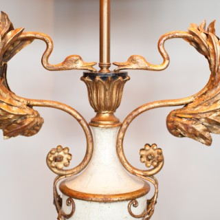 Large Pair of French Painted and Gilt Floor Lamps